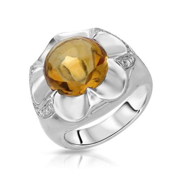 Natural 7.12 CTW Citrine & Diamond Ring 14K White Gold - REF-86K4R