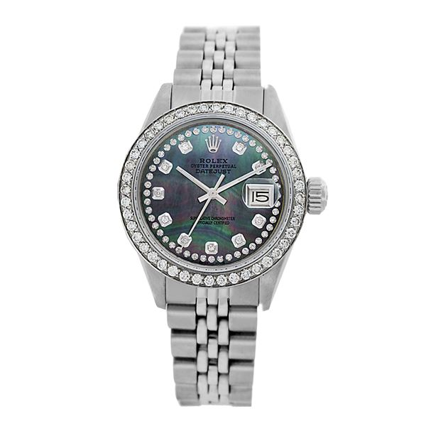 Rolex Pre-owned 26mm Womens Custom String Tahitian Dial Stainless Steel