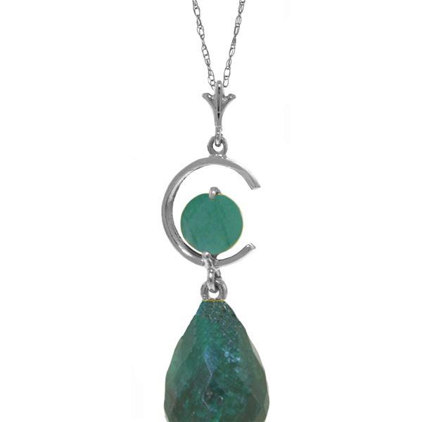 Genuine 9.3 ctw Green Sapphire Corundum & Emerald Necklace 14KT White Gold - REF-26M9T