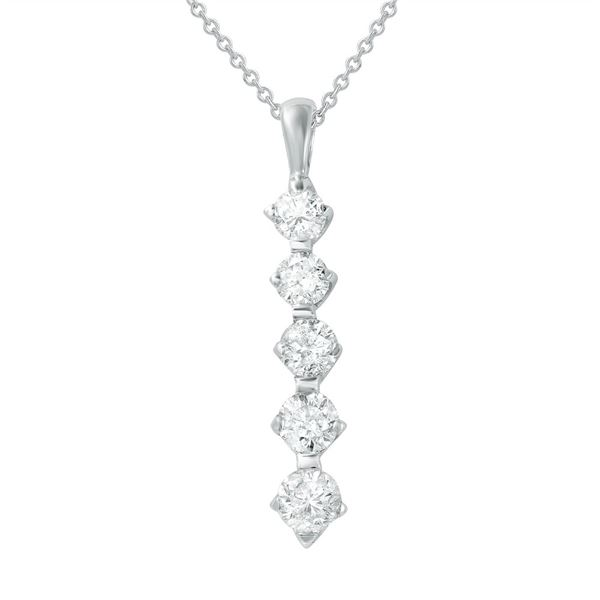 Natural 1.50 CTW Diamond Necklace 14K White Gold - REF-201W6H