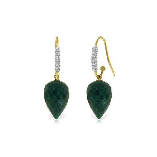 Genuine 25.98 ctw Green Sapphire Corundum & Diamond Earrings 14KT Yellow Gold - REF-58N2R