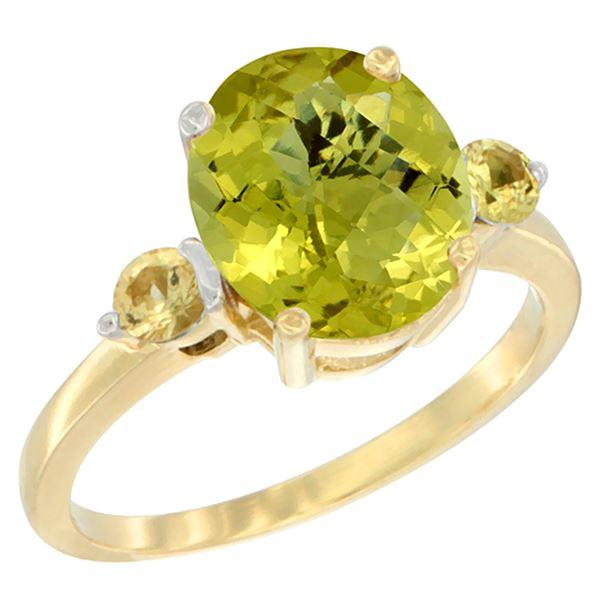 2.64 CTW Lemon Quartz & Yellow Sapphire Ring 14K Yellow Gold - REF-31R4H