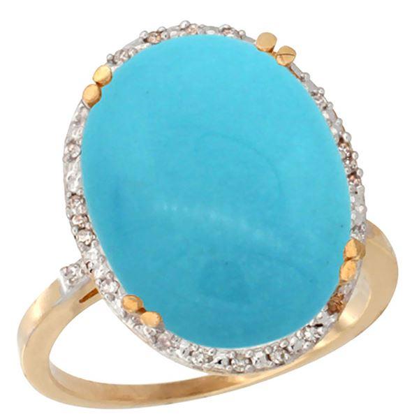 13.71 CTW Turquoise & Diamond Ring 10K Yellow Gold - REF-77M5K