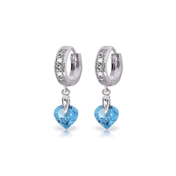 Genuine 1.77 ctw Blue Topaz & Diamond Earrings 14KT White Gold - REF-35R2P