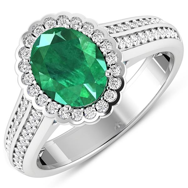 Natural 2.07 CTW Zambian Emerald & Diamond Ring 14K White Gold - REF-92T9H