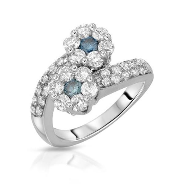 Natural 2 CTW Blue Round Diamond Ring 14K White Gold - REF-174F6M