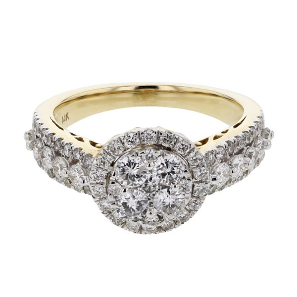 Natural 1.35 CTW Diamond Ring 14K Yellow Gold - REF-154W8H