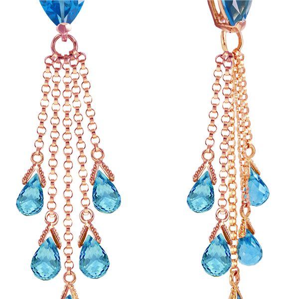 Genuine 15.5 ctw Blue Topaz Earrings 14KT Rose Gold - REF-51K8V