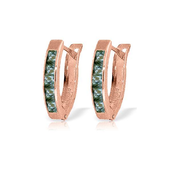 Genuine 1.30 ctw Green Sapphire Earrings 14KT Rose Gold - REF-30P9H