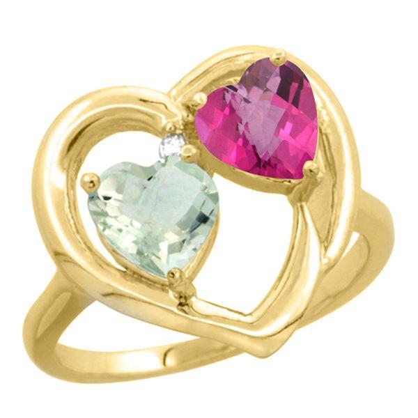 2.61 CTW Diamond, Amethyst & Pink Topaz Ring 10K Yellow Gold - REF-23V7R