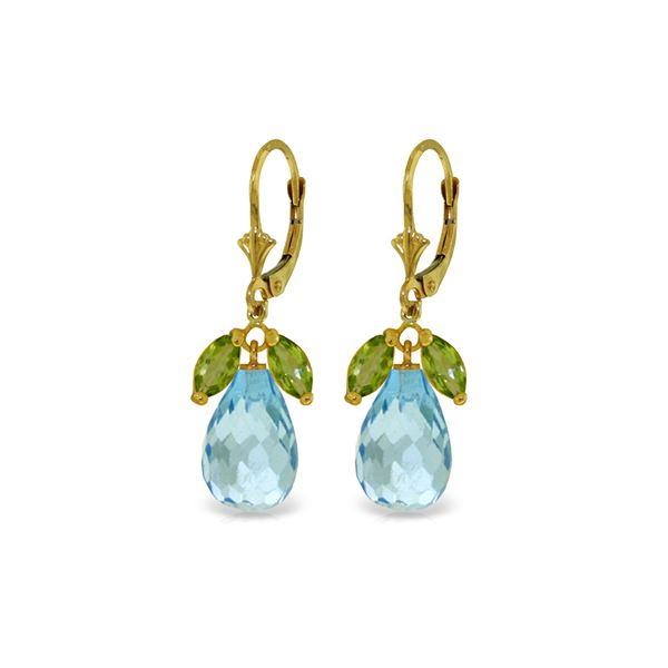 Genuine 14.4 ctw Blue Topaz & Peridot Earrings 14KT Yellow Gold - REF-46R7P