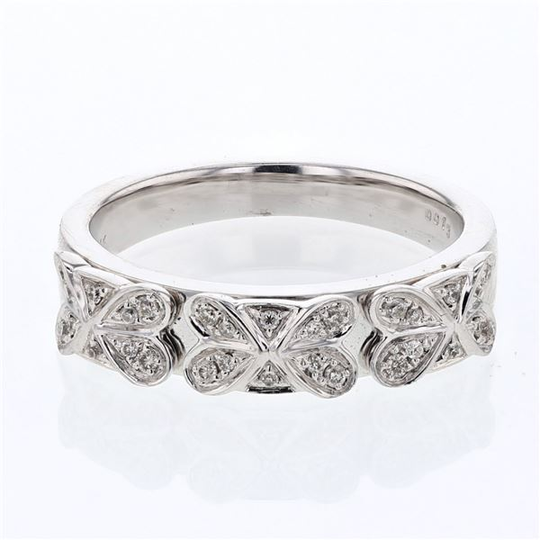 Natural 0.13 CTW Diamond Band Ring 14K White Gold - REF-47N7Y