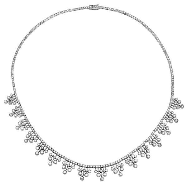 Natural 6.13 CTW Diamond Necklace 18K White Gold - REF-737T3X