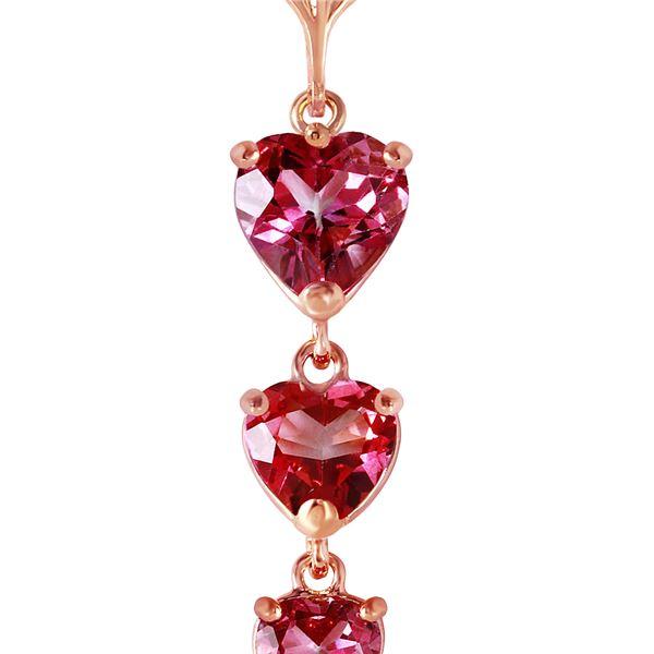 Genuine 3.03 ctw Pink Topaz Necklace 14KT Rose Gold - REF-37A2K