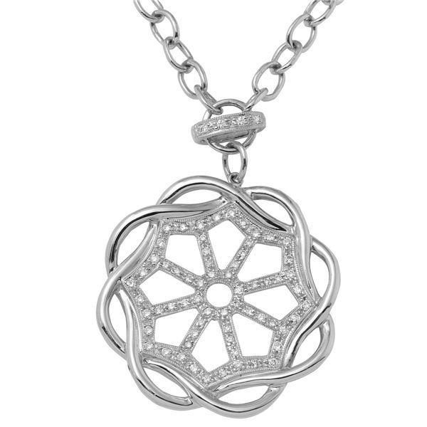 Natural 0.49 CTW Diamond Necklace 14K White Gold - REF-194F4M