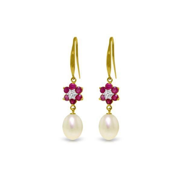 Genuine 9.01 ctw Ruby, Pearl & Diamond Earrings 14KT Yellow Gold - REF-46F7Z