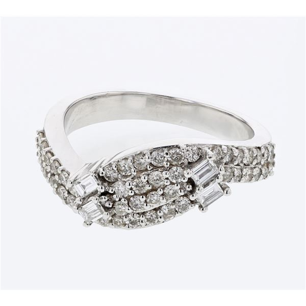 Natural 0.67 CTW Diamond & Baguette Ring 18K White Gold - REF-125T3X