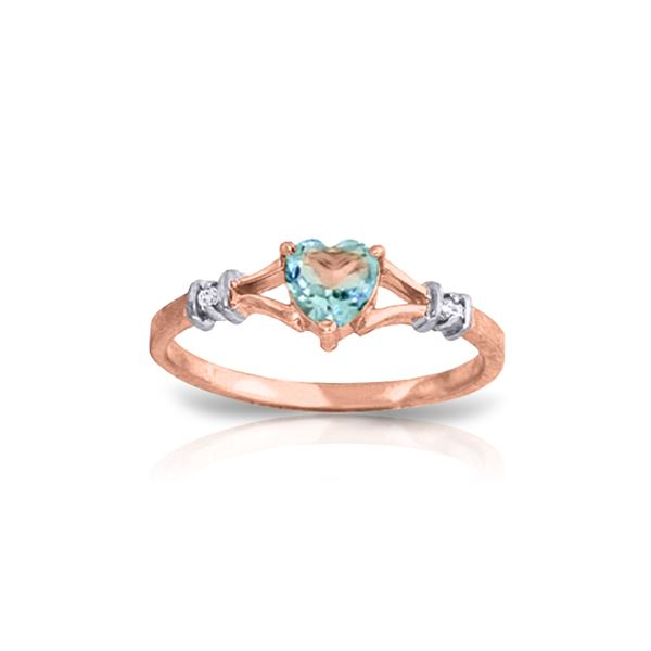 Genuine 0.47 ctw Blue Topaz & Diamond Ring 14KT Rose Gold - REF-27A2K