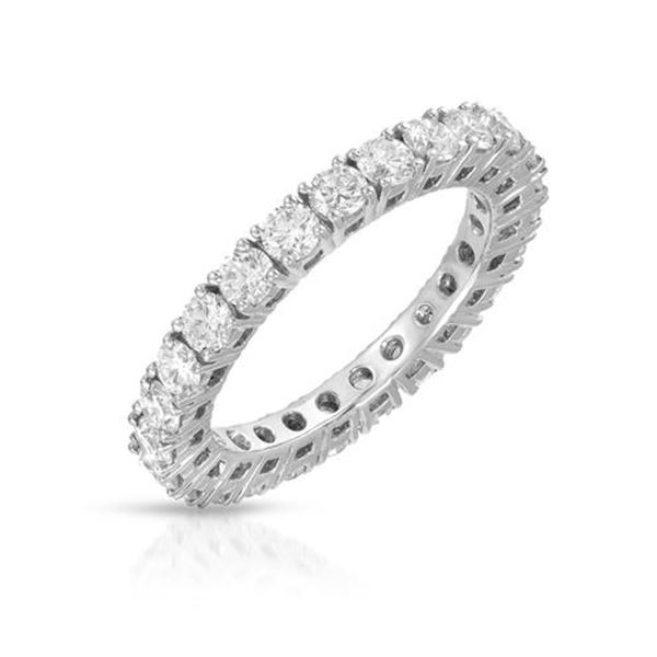 Natural 2.12 CTW Diamond Band Ring 14K White Gold - REF-231F3M