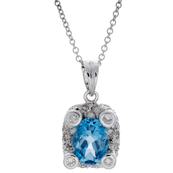 Natural 2.15 CTW Topaz & Diamond Necklace 18K White Gold - REF-72W2H