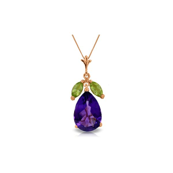 Genuine 6.5 ctw Amethyst & Peridot Necklace 14KT Rose Gold - REF-38Z2N