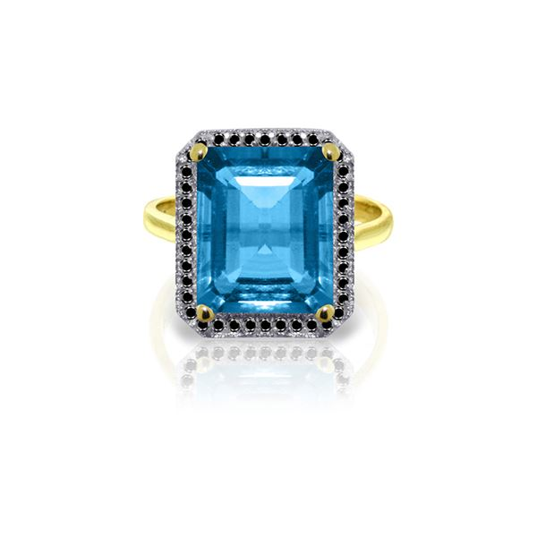 Genuine 7.8 ctw Blue Topaz & Black Diamond Ring 14KT Yellow Gold - REF-81Z5N