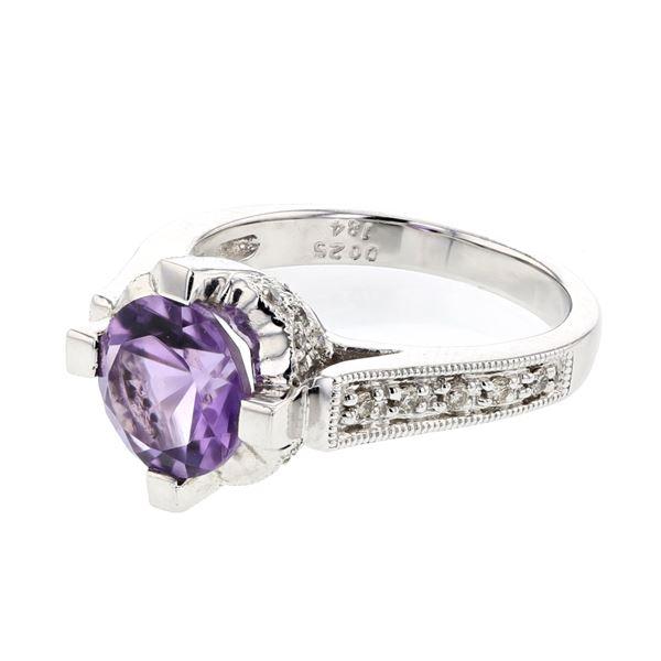 Natural 2.09 CTW Amethyst & Diamond Ring 18K White Gold - REF-86W4H