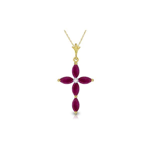 Genuine 1.10 ctw Ruby & Diamond Necklace 14KT Yellow Gold - REF-32X8M