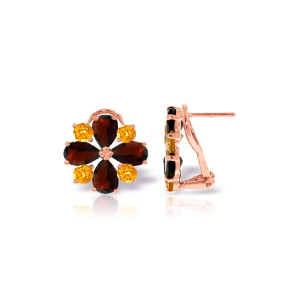 Genuine 4.85 ctw Garnet & Citrine Earrings 14KT Rose Gold - REF-58V4W