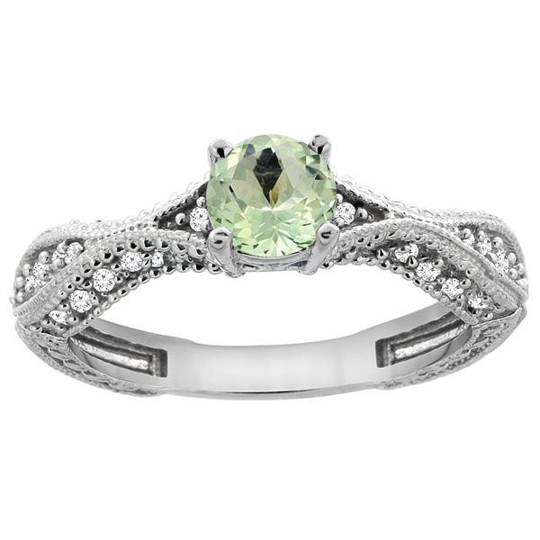 0.67 CTW Amethyst & Diamond Ring 14K White Gold - REF-67K7W