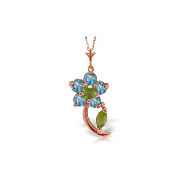 Genuine 0.87 ctw Blue Topaz & Peridot Necklace 14KT Rose Gold - REF-25F4Z