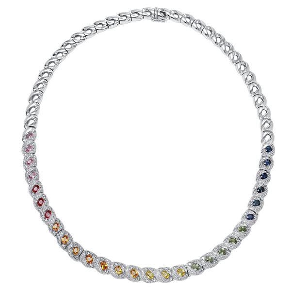 Natural 8.41 CTW Multi-Sapphire & Diamond Necklace 18K White Gold - REF-885T6X