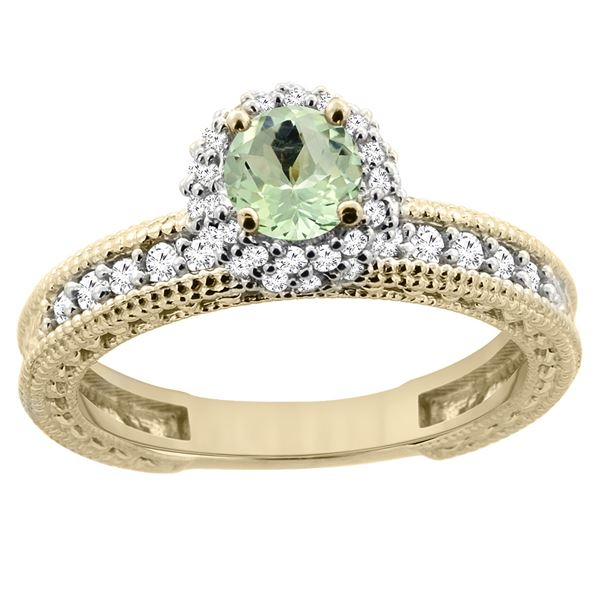 0.77 CTW Amethyst & Diamond Ring 14K Yellow Gold - REF-65W8F
