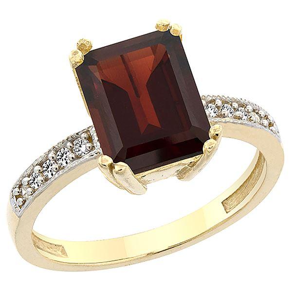 3.70 CTW Garnet & Diamond Ring 14K Yellow Gold - REF-41M5A