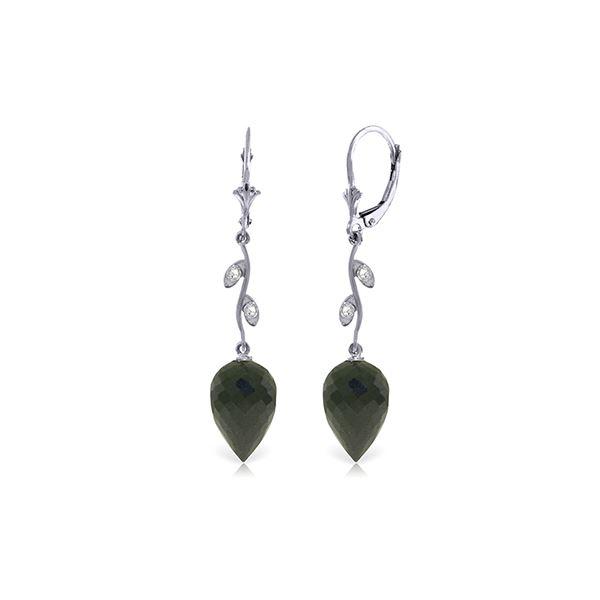 Genuine 24.52 ctw Black Spinel & Diamond Earrings 14KT White Gold - REF-49V8W
