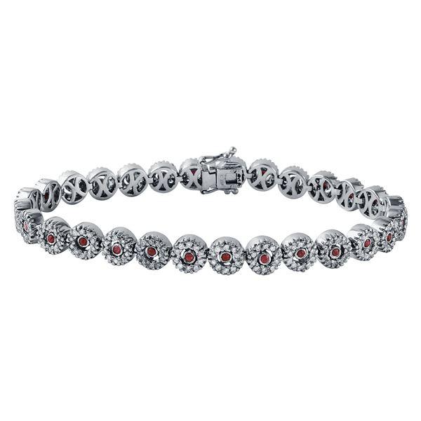 Natural 2.08 CTW Ruby & Diamond Bracelet 18K White Gold - REF-301W5H