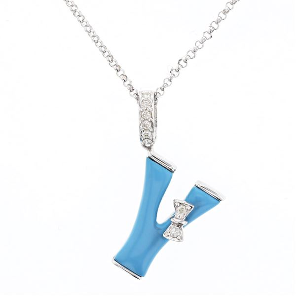 Natural 1.38 CTW Turquoise & Diamond Necklace 14K White Gold - REF-29W7H