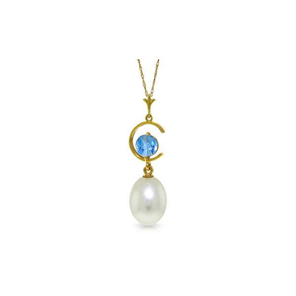 Genuine 4.5 ctw Blue Topaz Necklace 14KT Yellow Gold - REF-20T5A
