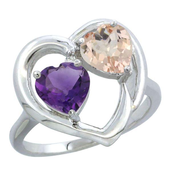 1.91 CTW Diamond, Amethyst & Morganite Ring 14K White Gold - REF-36V6R