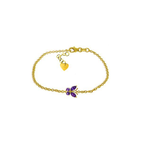 Genuine 0.60 ctw Amethyst Bracelet 14KT Yellow Gold - REF-41V6W