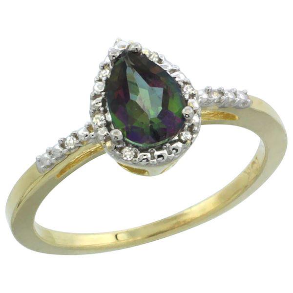 1.55 CTW Mystic Topaz & Diamond Ring 10K Yellow Gold - REF-20A7X