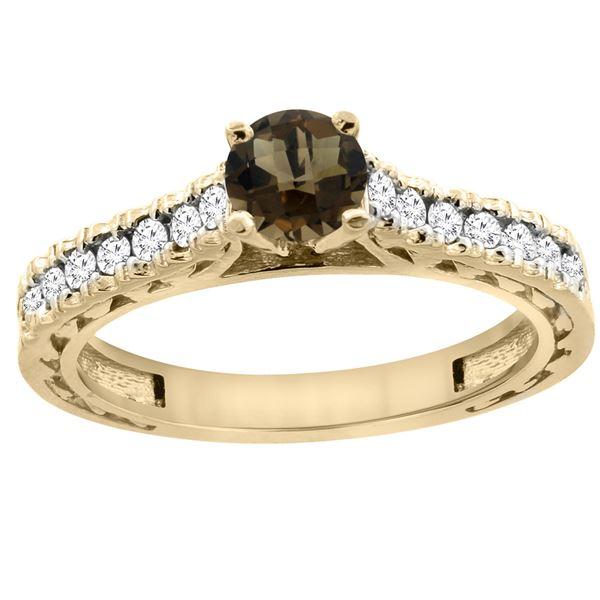 0.86 CTW Quartz & Diamond Ring 14K Yellow Gold - REF-62M4K