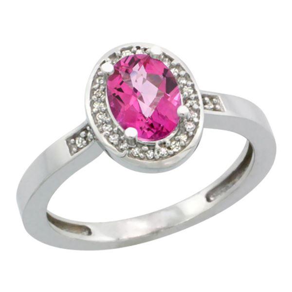 1.15 CTW Pink Topaz & Diamond Ring 14K White Gold - REF-37V9R