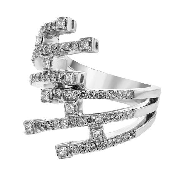 Natural 0.78 CTW Diamond & Princess Diamond Ring 18K White Gold - REF-199F8M