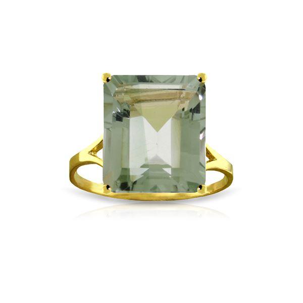 Genuine 6.5 ctw Green Amethyst Ring 14KT Yellow Gold - REF-43N8R