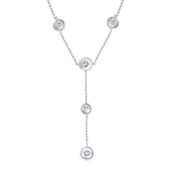 Natural 1.06 CTW Diamond Necklace 14K White Gold - REF-146W7H