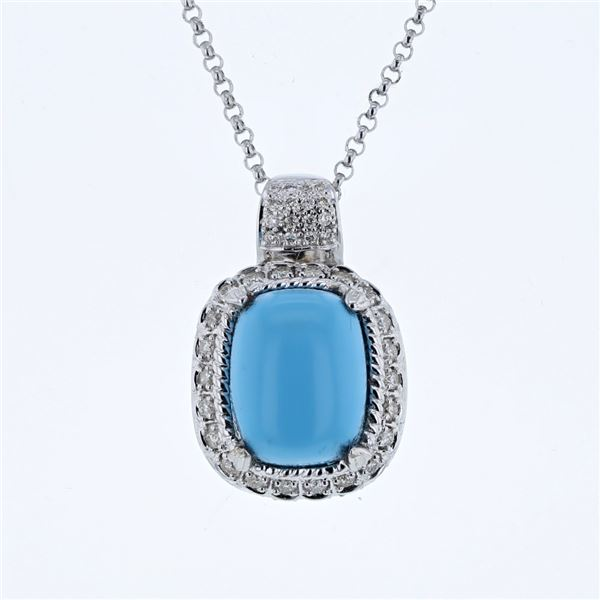 Natural 7.96 CTW Turquoise & Diamond Necklace 14K White Gold - REF-111T6X