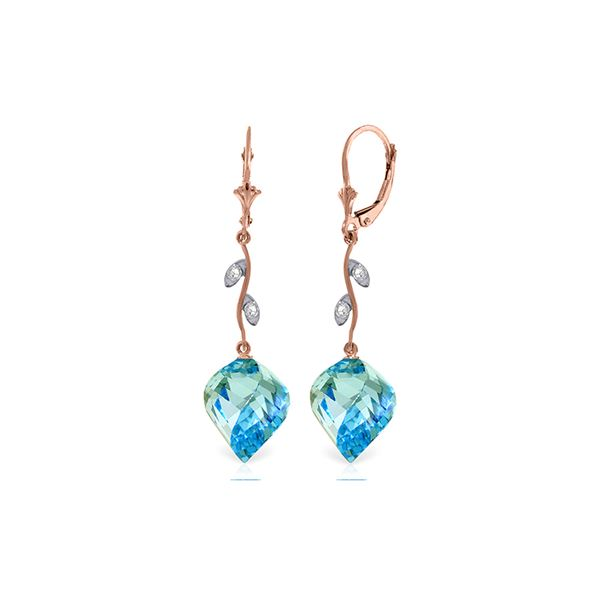 Genuine 27.82 ctw Blue Topaz & Diamond Earrings 14KT Rose Gold - REF-92Y2F