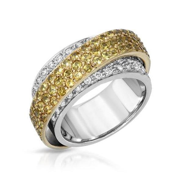 Natural 2.50 CTW Yellow Sapphire & Diamond Ring 14K Two Tone Yellow Gold - REF-171W2H