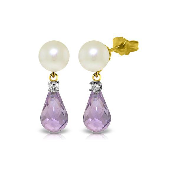 Genuine 6.6 ctw Pearl, Amethyst & Diamond Earrings 14KT Yellow Gold - REF-27K6V